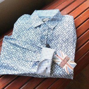 English laundry Blue lattice / stripe dress shirt